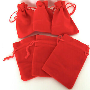 10-50 PCS VELVET DRAWSTRING GIFT BAG WEDDING FAVORS, PARTY POUCH  GIFTS. RED NEW