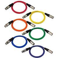 GLS Audio 3ft Patch Cable Cords - XLR Male To XLR Female Color Cables - 3' Ba...