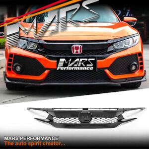 Gloss Black TYPE R Style Bumper Bar Grille Grill Mesh for Honda Civic 10th 2016+
