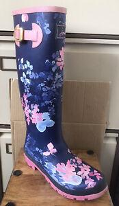 Ladies JOULES 'Floral' Wellies/Wellington Boots - Size 6 (39)