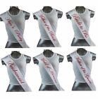 HENS NIGHT PARTY BRIDAL SASH BRIDE BRIDESMAID MAID OF HONOUR - WHITE + HOT PINK