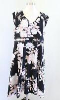 Karl Lagerfeld Black White Blush Peach Floral Lace Trim Cap Sleeve Dress Size 16