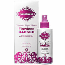 Fake Bake Flawless Darker Self Tanning Deeper Bronze Liquid + Gloves + Mitt 6 oz