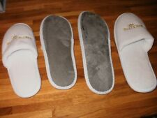2 PAIRS WHITE MULES/SLIPPERS WOMEN'S/MEN'S SIZES S/M (5-7) L/XL (8-10) BY P&O BN