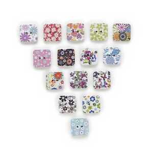 50 Square 2 Hole Wood Buttons Sewing Scrapbooking Clothing Gift Home Decor 17mm