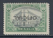 Mexico Sc O193a MLH. 1927 5p Central Post Office, INVERTED Oficial ovpt, CERT