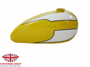 TRIUMPH T140 YELLOW AND WHITE PAINTED PETOL TANK  Fit For