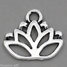50PCs Gift Charm Pendants Lotus Flower Silver Tone 17mmx14mm