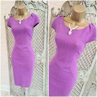 Closet  💋 UK 10 Purple Ribbed Panel Stretch Bodycon Wiggle Dress ~Free P&P~
