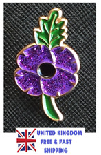 Limited 2018 Peace Animals In World War Purple Red Poppy Enamel Pin Badge Brooch
