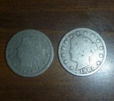 1901 & 1902 Liberty Head V NICKEL 5 cents coins USA