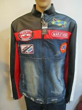 Heritage America Nascar Denim Jean Faux Leather Black White Red Moto Jacket XL