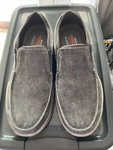 Skechers Mens 9.5 Charcoal Relaxed Fit Memory Foam Air Cooled Slip On Loafer