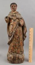 New ListingLarge 20.5in Antique Early 19thC Carved & Painted Christian Saint Santos