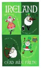 Irlanda Irish Cartoon Bailando ovejas té Toalla Souvenir Regalo de algodón verde elgate