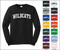 Wildcats College Letter Team Name Long Sleeve Jersey T-shirt