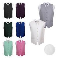 Highest Quality Greek Key Patterned Mens Wedding Waistcoat Vest with Tie & Hanky