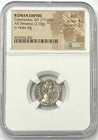 Roman Empire Commodus AD 177-192 Silver Denarius NGC AU Amazing Look In Hand