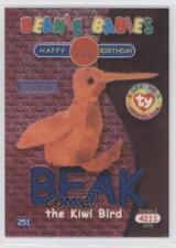 1999 Ty Beanie Babies Series 2 Chase Blue #251 Beak the Kiwi Bird Card 2d6