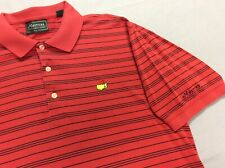 MASTERS COLLECTION AUGUSTA STRIPED RED COTTON POLO GOLF SHIRT MENS LARGE
