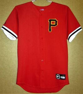 PITTSBURGH PIRATES BUTTON-DOWN RED MESH JERSEY AND FREE CAP