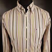 Tommy Hilfiger Mens Shirt LARGE Long Sleeve Regular Fit Striped Cotton