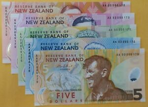 New Zealand same number set, LOW SERIAL, AA 03 000170 (only 273 issued) Scarce!!