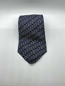 Hermes Paris Blue & Gold Print Neck Tie 100% Silk Made in France ~ 7770 FA