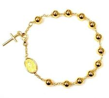 18K Gold Our Lady Miraculous Medal Beads Cross Bracelet Rosary Pulsera Oro-ITALY