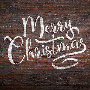 Merry Christmas Stencil - Calligraphy Style - A4 Size Christmas Craft Template