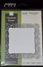 "New Poppy Cut Stencil Emboss Create CLAUDETTE FRAME Die 4.1"" x 4.1"" Style# 1046"