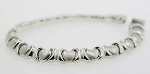 14K White Gold Stampato Heart Bracelet
