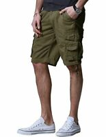 FITAXIS Causal Mens Cotton Summer Army Combat Cargo Short Twill Military Camo