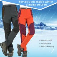 Men's Women's Warm Outdoor Hiking Ski Pants Fleece Windproof Waterproof Trousers
