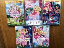 Barbie dvd bundle Princess&Popstar Rock&Royals Mariposa Ponytale PinkShoes