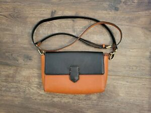 Miss Albright Anthropologie Faux Leather Black And Brown Crossbody Purse Handbag