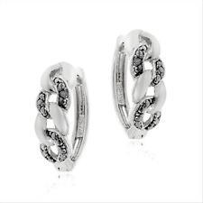 925 Silver Black Diamond Accent Infinity Huggie Earrings