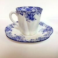 Shelley Bone China Demitasse Cup & Saucer DAINTY BLUE PATTERN