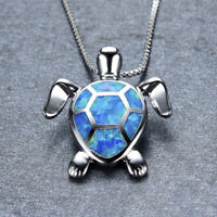 Cute Fire Opal Sea Turtle Pendant Choker Chain Necklace Women Jewelry Gift  LY