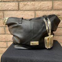 Versace Parfum Black Tote Bag Weekender Overnight Goldtone Zipper Shoulder Strap