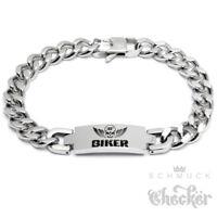 100% BIKER Armband Edelstahl Totenkopf Herren Schildarmband Bikerschmuck silber
