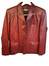 CLIO Red Leather Jacket ~ Burgundy Lined Coat Button Up Womens Medium