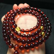 Genuine Natural Blood Amber Gemstone Round 108 Beads Bracelet 7mm AAA
