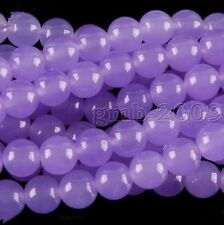 """8mm Natural Lavender Jade Chalcedony Round Gemstone Loose Beads 15""""AAA"""