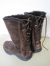 LADIES UGG BOOTS ULTIMATE BIND 5219 LACE UP BACK THICK FUR LINE BROWN SUEDE UK 5