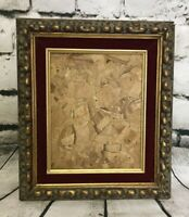 Antique Gold Gilt Gesso Solid Wood Deep Frame w/ Red Velvet Trim 14.5x12.5""