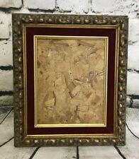 """Antique Gold Gilt Gesso Solid Wood Deep Frame w/ Red Velvet Trim 14.5x12.5"""""""