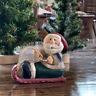 Midwest Cannon Falls Eddie Walker Santa on Sled Christmas Ornament