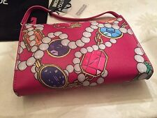 Boutique Moschino Jeremy Scott Pink Jewelry Diamonds Gems Pearls Clutch Bag