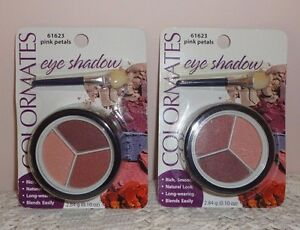 (2) Brand New ColorMates Pink Petals 3 Color Eye Shadow .10 oz. w/ app. #61623